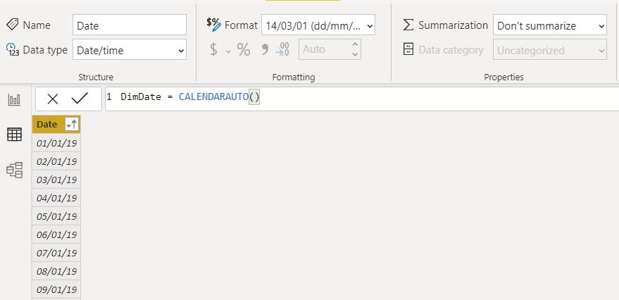 ejemplo de la función DAX CALENDARTAUTO en power bi