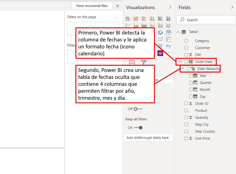power bi crea automaticamente una tabla con jerarquía de fechas