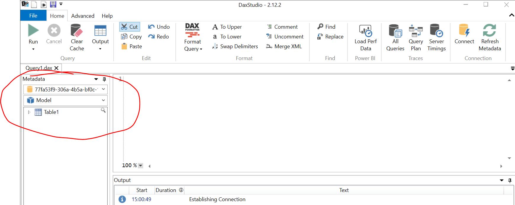 Dax studio ya conectado al modelo de power bi