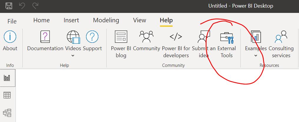 como ver las external tools herramientas externas tabular editor dax studio alm toolkit