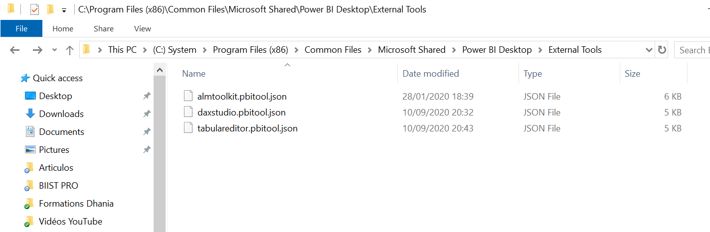 archivo json file power bi desktop external tool instalación